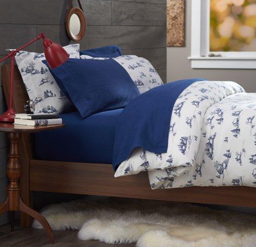 Pinzon 160-Gram Printed 100-Percent Cotton Flannel Duvet Cover, Twin, Winter Village Cadet Blue front-962602