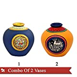 ExclusiveLane Combo Of Terracotta Handpainted Vases