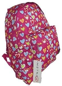 Girls Womens Love Hearts School College Travel Backpack Rucksack (Pink)