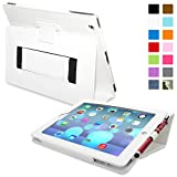 Snugg iPad 2 Leather Case in White - Flip Stand Cover with Elastic Hand Strap and Premium Nubuck Fibre Interior - Automatically Wakes and Puts the Apple iPad 2 to Sleep