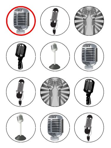 """Twelve 2"""" Vintage Microphone Edible Image Cup Cake Toppers Decorations On Edible Wafer Rice Paper"""