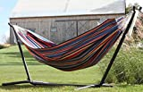 Vivere Double Polyester Hammock with Space-Saving Steel Stand, Techno