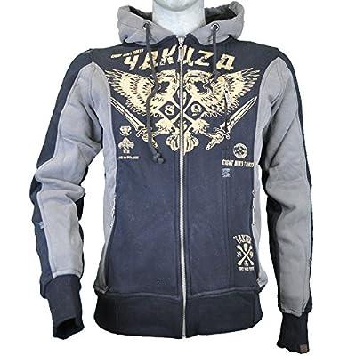 Yakuza Sweat Zipper Herren Hoodie mit Kapuze HZB 632 Logo & Wappen schwarz grau