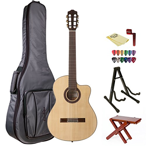 Cordoba Gk Studio Acoustic Guitar With Cordoba Gig Bag, Wood Foot Stool, Chromacast Stand, String Winder, 12 Pick Sampler And Polishing Cloth