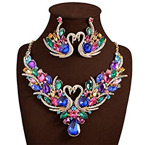 Holylove Colorful Romantic Bling Crystal Rhinestone Swan Necklace & Earrings Wedding Party Jewelry Set