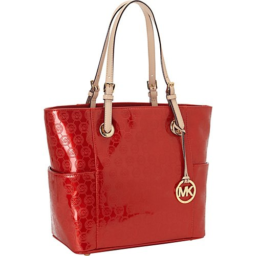 Michael Kors Jet Set Mandarin Patent Leather Signature Tote Shoulder Bag