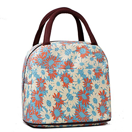 Blue Mum Thickened Waterproof Portable Lunch Box Bag Embroidery Lunch Handbag Pattern Tote Small Bag Cute Picnic Bag