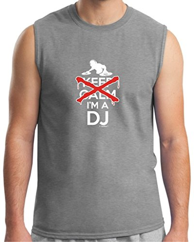 I Can't Keep Calm I'm a DJ Disc Jockey Mixer Sleeveless T-Shirt Large SpGry