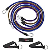 ProSource XTREME Premium Heavy Duty Double Dipped Latex Stackable Resistance Bands Set with Extra Large Handles, Door Anchor, Carrying Case, and Exercise Chart