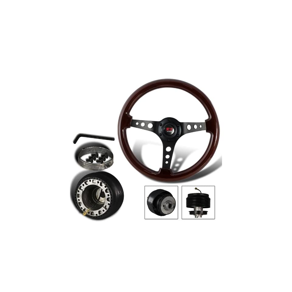 345mm 6 Hole Dark Wood Grain Style Deep Dish Steering Wheel + Civic/CRX/Integra Hub Adapter
