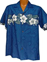 Exclusive Hawaiian All New Hibiscus In Paradise Aloha Shirt in Blue (L)