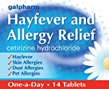 GALPHARM Cetirizine Hydrochloride Hayfever and Allergy Relief One-a-Day Tablets 14's