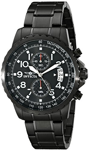 Invicta Specialty Men's Quartz Watch with Black Dial  Chronograph display on Black Stainless Steel Bracelet 13787