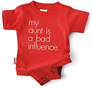 "Funny Baby Clothes ""My Aunt is a Bad Influence"" Red Bodysuit, Unisex"