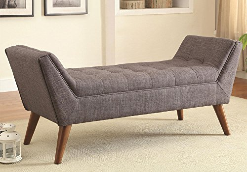 1PerfectChoice Mid-Century Upholstered Tufted Seat Bench Ottoman Soft Grey Linen-like Fabric
