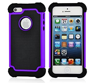 SOOPER Purple Defender Heavy Duty Protective Hard Full Body Cover Case For Apple iPhone 5 5G + Free Screen Protector (Purple)