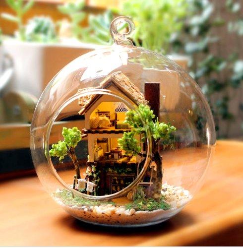 オシャレな球体ガラス ミニチュア ドール ハウス 山小屋 ログハウス プレゼントにおすすめ