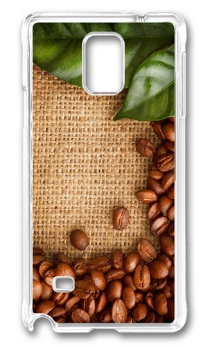 Mokshop Awesome Coffee Beans Green Leaves Hard Case Protective Shell Cell Phone Cover For Samsung Galaxy Note 4 - Pc Transparent