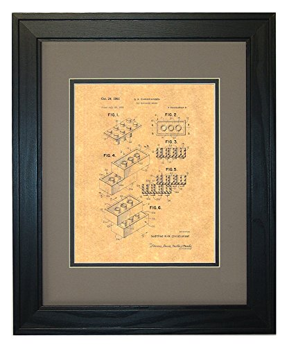 """Lego Toy Patent Art Print in a Solid Pine Wood Frame with a Double Mat (11"""" x 14"""")"""