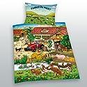 Herding 248585063 Babybettwäsche Bauernhof such mich, 40 x 60 cm + 100/135 cm, Linon