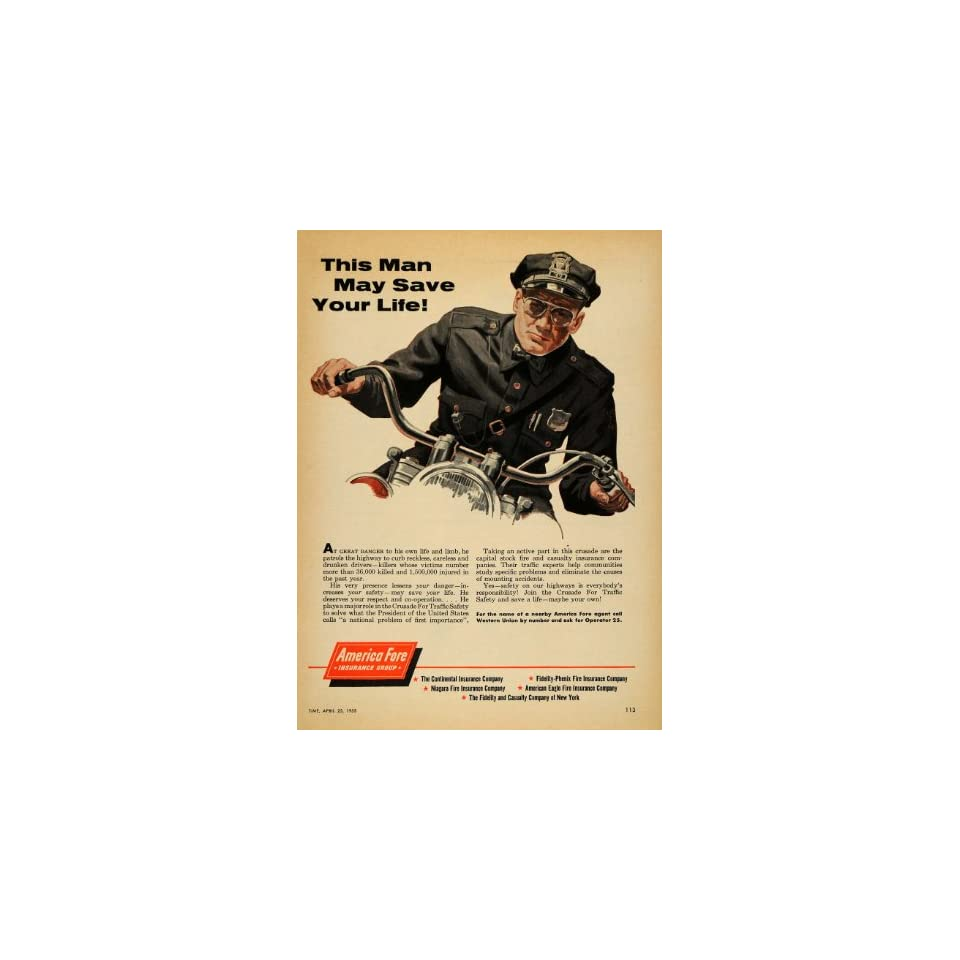 1955 Ad America Fore Insurance Group Police Officer   Original Print Ad