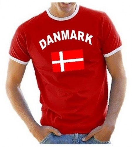 Dänemark T-Shirt Ringer Rot, Gr.XL