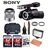 Sony NEX-VG30 Camcorder (Black) + Sony 50mm f/1.8 Mid-Range Lens + Case + LED 160 + Two 64GB Memory Cards