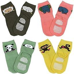 Wrapables Animal Fun Non-Skid Baby Socks (Set of 4)