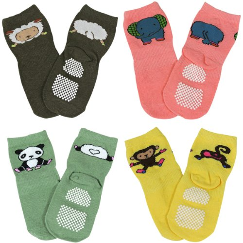 Wrapables Animal Fun Non Skid Baby Socks Set of 4