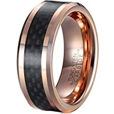 buy Mnh Men'S 8Mm Tungsten Carbide Wedding Rose Gold Plated Carbon Fiber Inlay Beveled Polished Ring Size 8.5