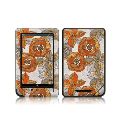 Orange and Grey Flowers Design Protective Decal Skin Sticker for Barnes and Noble NOOK COLOR E Book Reader
