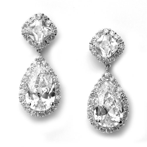 Bridal Earring, Cubic Zirconia Tear Drop Earrings for Brides and Weddings 1142