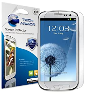 Tech Armor HD Clear Screen Protectors with Lifetime Replacement Warranty for Samsung Galaxy S3 S III Smartphone [3-PACK] - Retail Packaging