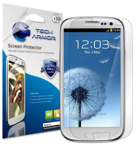 Tech Armor HD Clear Screen Protectors with Lifetime Replacement Warranty for Samsung Galaxy S3 S III Smartphone [3-Pack] (AT&T, Verizon, Sprint, T-Mobile, US Cellular, Unlocked i9300, 3G GSM)