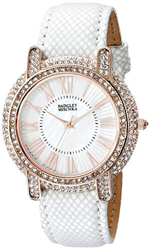 badgley-mischka-womens-ba-1354wmwt-swarovski-crystal-accented-rose-gold-tone-and-white-leather-strap
