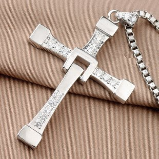 Biggest Size Silver-like FAST and FURIOUS Dominic Toretto's Cross Necklace Pendant Size:70mm*50mm 25Grams - 1