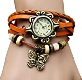 KANO BAK Brown Color Quartz Fashion Weave Wrap around Leather Bracelet Lady Women Wrist Watch