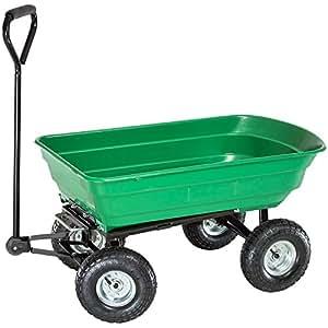 TecTake Chariot transporteur inclinable benne basculante Charrette remorque Chariot de transport de jardin MAX 300 kg