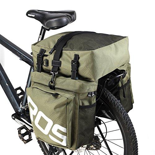 Roswheel 3 in 1 Multifunktions-Outdoor Radfahren Reisenden Pannier Set Wasserdichte Fahrradtasche Doppel-Gepäckträgertasche +Seitentaschen +Top Bag (Armeegrün)