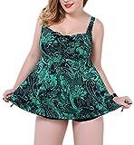Crazycatz@Paisley Print Plus Size Two Pieces Swimwear Tankini (Tag 50 UK 20-22, Green Print)