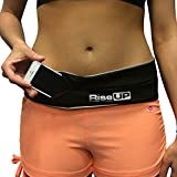Rise Up - The Finest Running Belt for use while jogging - fitness activities walking - A hands free non-bounce Flipbelt Multiple reflective bands and a logo Why wait? Order your reversible hands free flip belt now., Small/Black