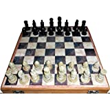 "16""x16″ Indian Stone Chess Game Board Set + Hand Crafted Stone Pieces"