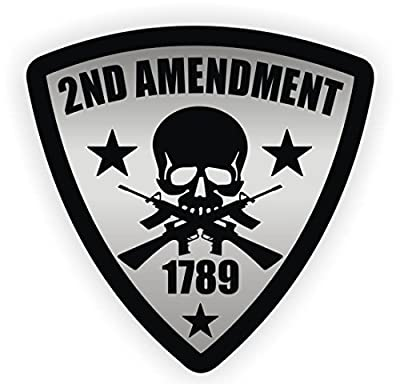 """1-Pc Outstanding Popular 2nd Amendment Skull 1789 Gun Car Stickers Signs Security Badge Window Decals Weatherproof Size 5"""" Color Black and Silver"""