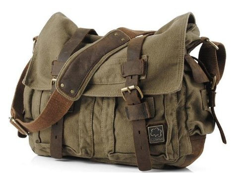 "Men's Trendy ""Colonial"" Italian Style Messenger Bag with Leather Straps – Army Green"