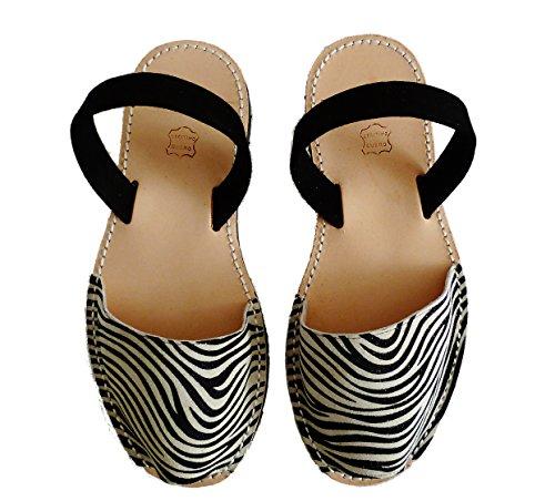 Sandali autentici di Minorca, avarcas menorquínas. vari colori leopardo e zebra (43 EU, Cebra tira negra)