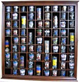 71 Shot Glass Rack Wall Display Case Holder Cabinet with glass door, SC08-WALN