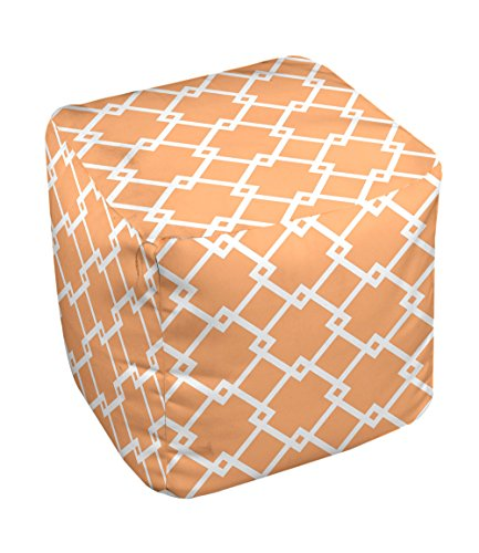 E by design FG-N10-Pumpkin_White-18 Geometric Pouf