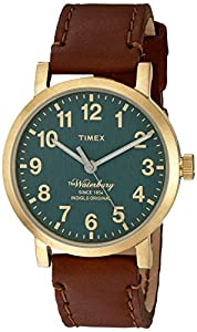 Timex Men's 'The Waterbury' Quartz Stainless Steel and Leather Dress Watch, Color:Brown (Model: TW2P58900ZA)
