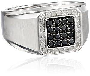 Men's 10k White Gold Black and White Diamond (3/4cttw) Ring, Size 10.5