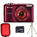 Nikon Coolpix L28 - Red + Case + 8GB Card + Tripod (20.1MP, 5x Optical Zoom) 3 inch LCD